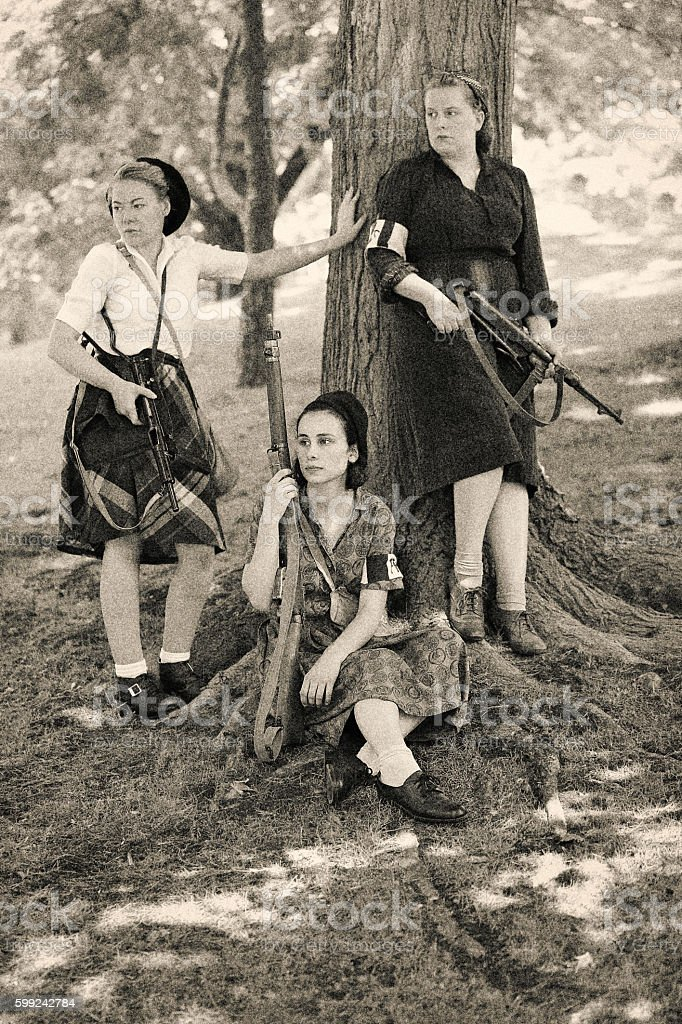 Courageous Women in the French Resistance stock photo