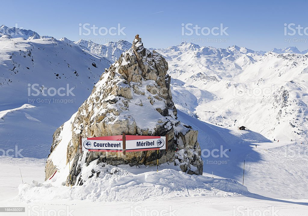 Courchevel and Meribel Ski Signs stock photo