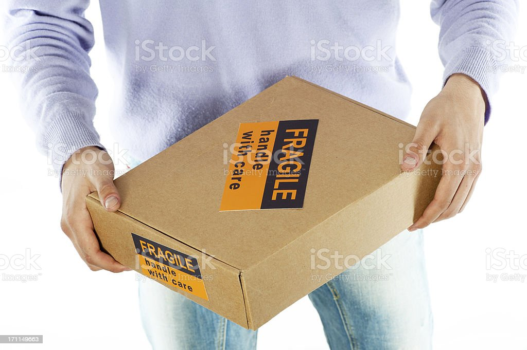courier delivering a package on white background royalty-free stock photo