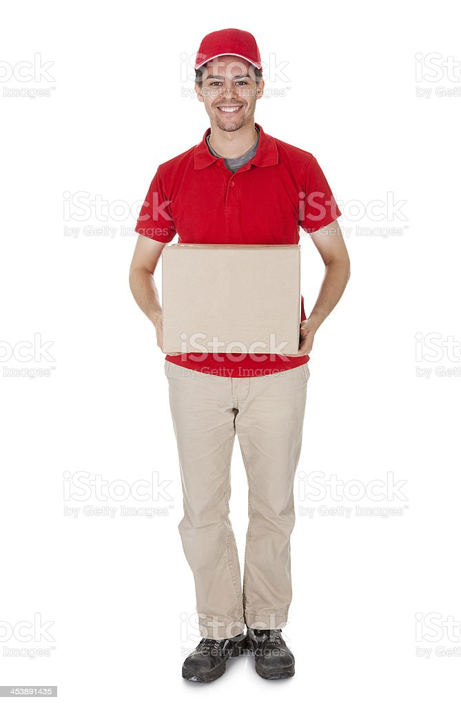 Courier delivering a parcel royalty-free stock photo