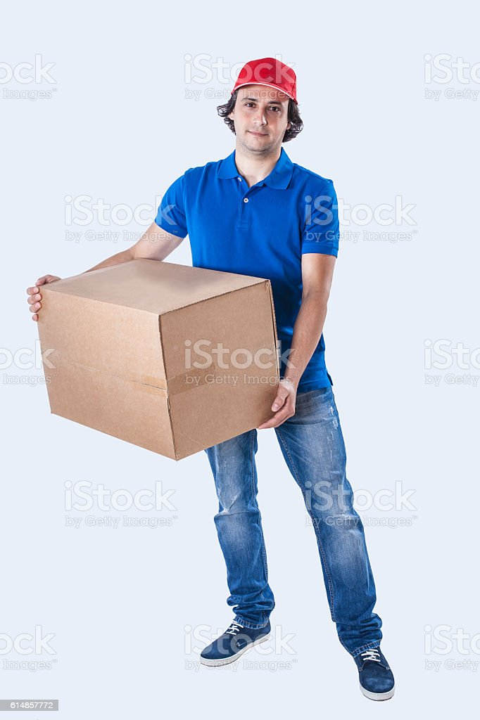 Courier delivering box stock photo