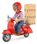 3D Courier delivery man delivering a package by scooter motorcyc
