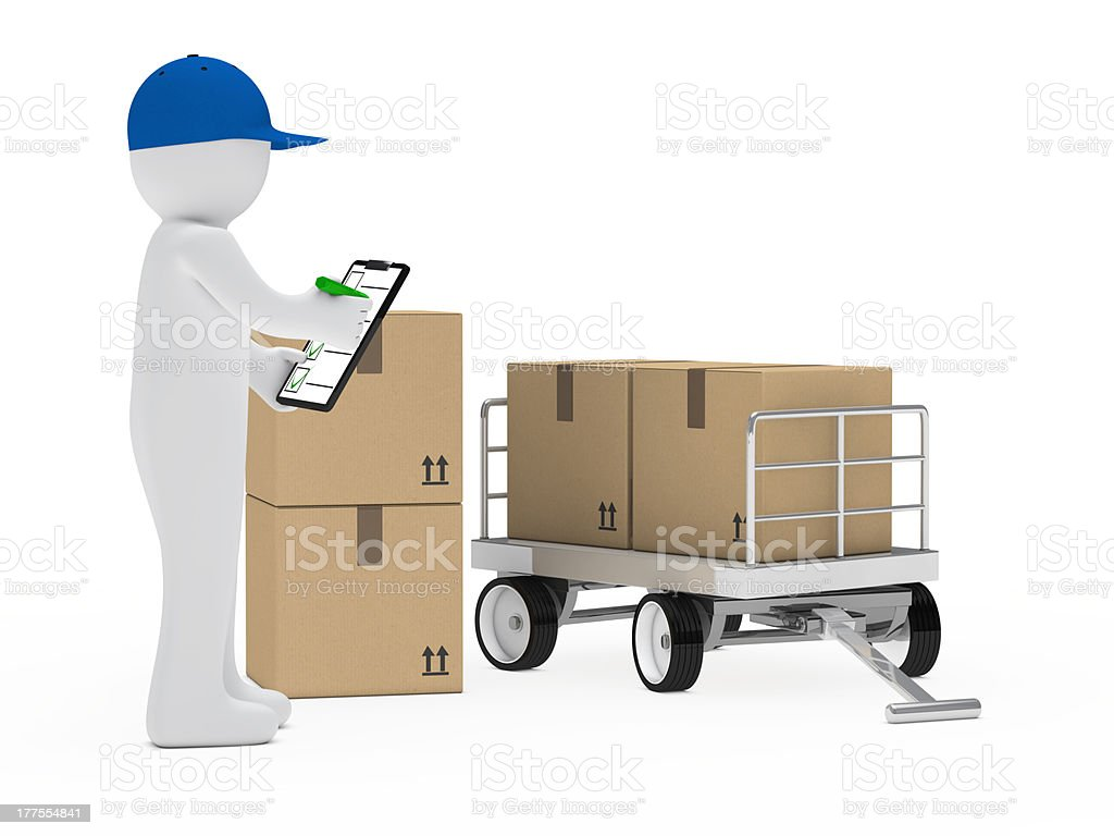courier figure trolley royalty-free stock photo