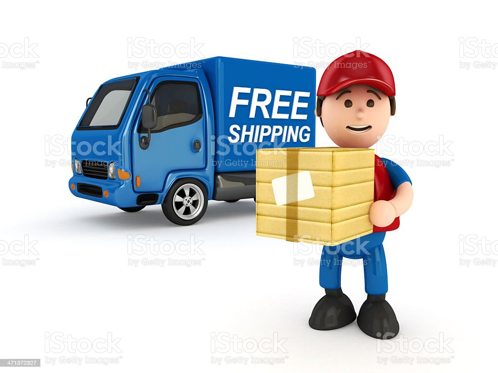 Courier Man with Truck royalty-free stock photo