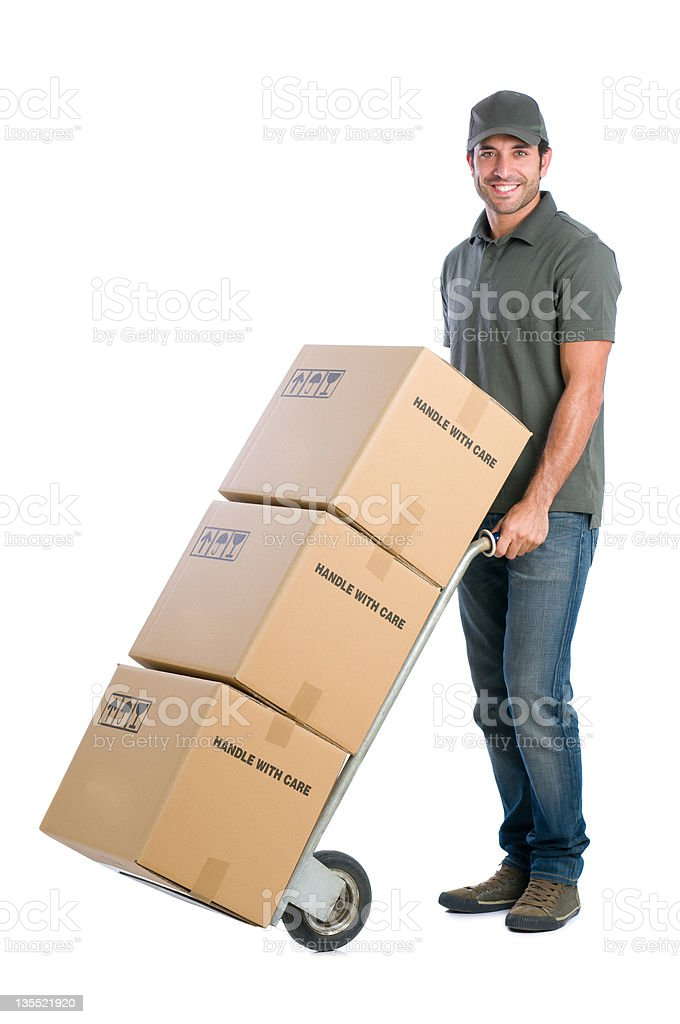 Courier moving boxes stock photo