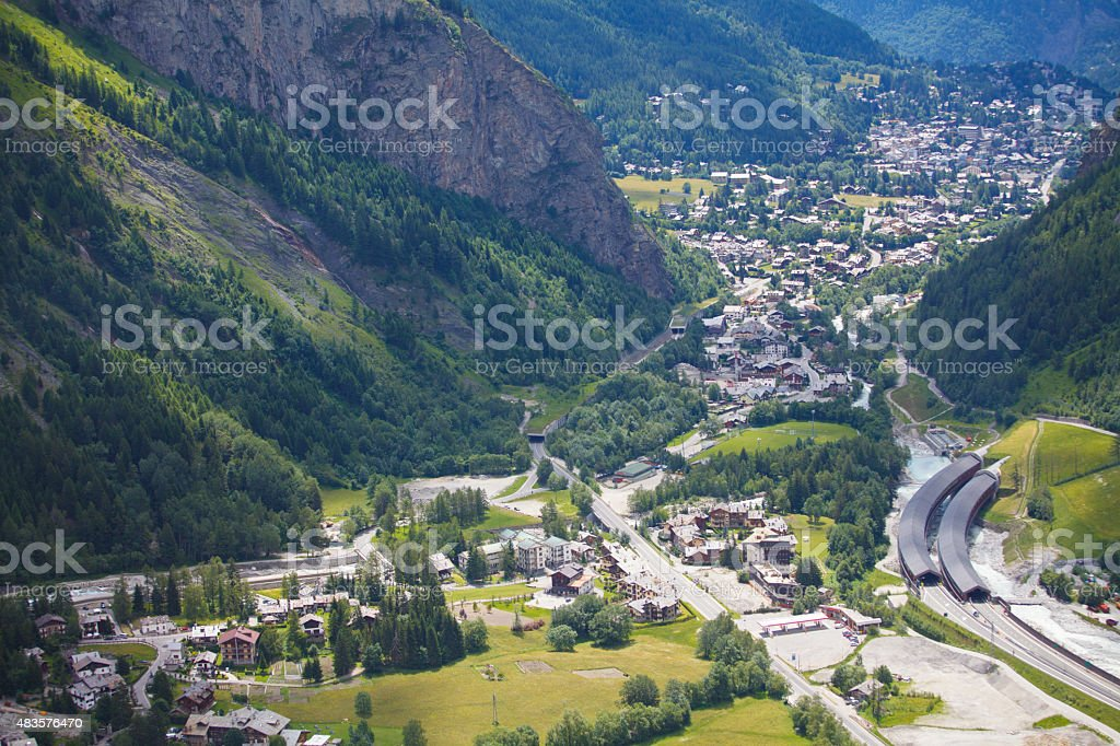 Courmayeur and Entreves village stock photo