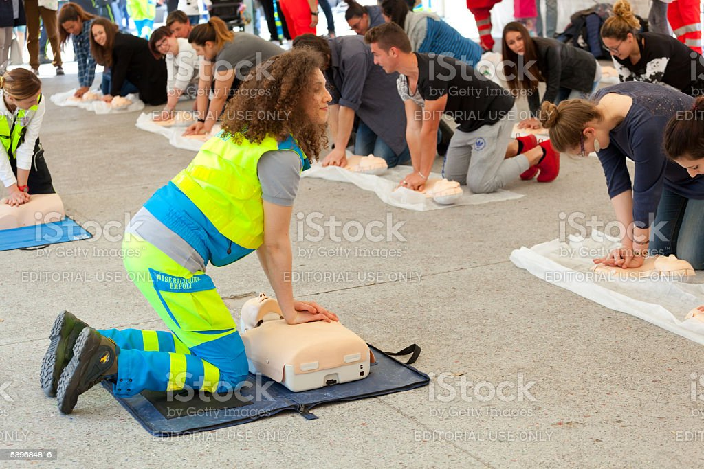 Course of first aid stock photo
