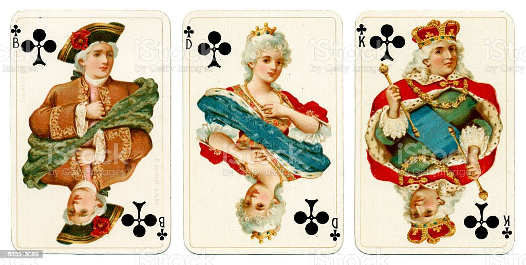 Court cards in Clubs Dondorf Baronesse piquet 1900 stock photo