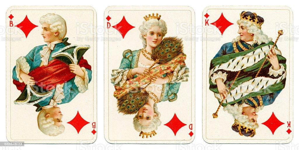 Court cards in Diamonds Dondorf Baronesse piquet 1900 stock photo