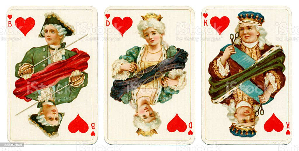 Court cards in Hearts Dondorf Baronesse piquet 1900 stock photo