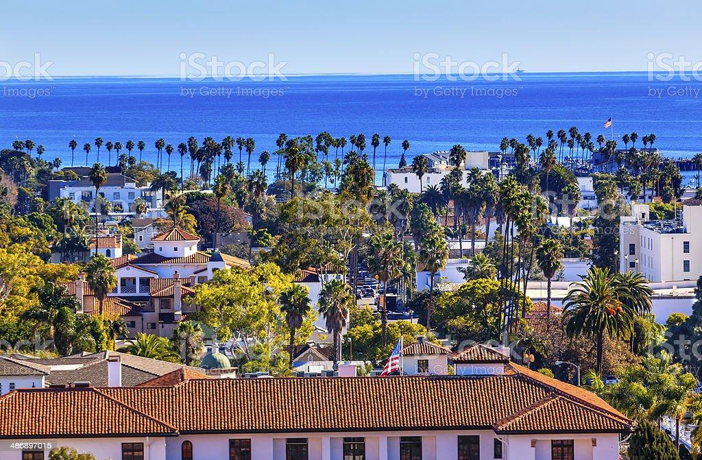 Court House Main Street Pacific Ocean Santa Barbara California stock photo