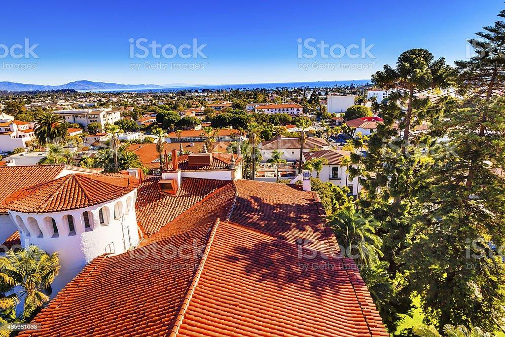 Court House Orange Roofs Buildings Pacific Ocean Santa Barbara California stock photo