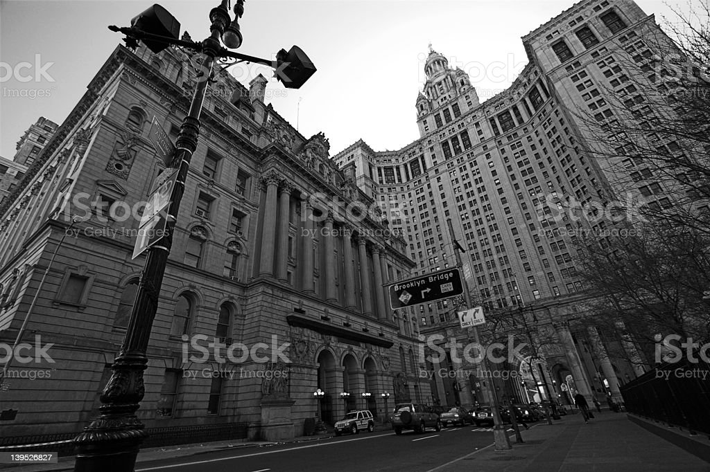 Court house wide-angel BW stock photo