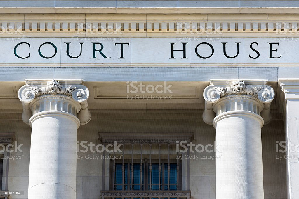 'Court House words on building with columns, San Antonio Texas' stock photo