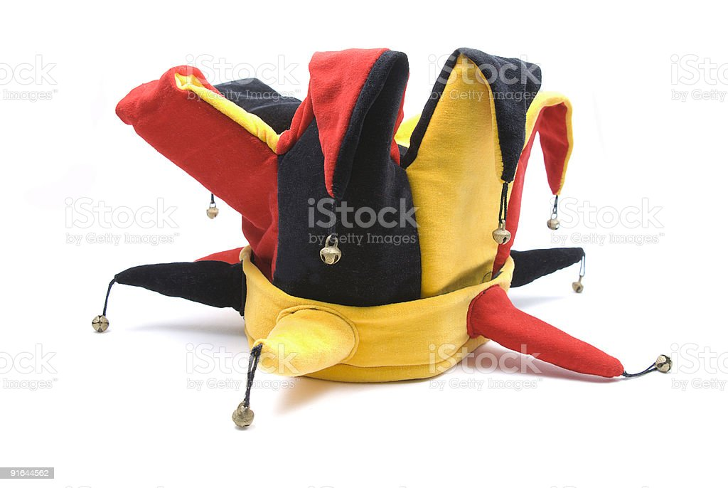 A court jesters red, black and yellow hat royalty-free stock photo