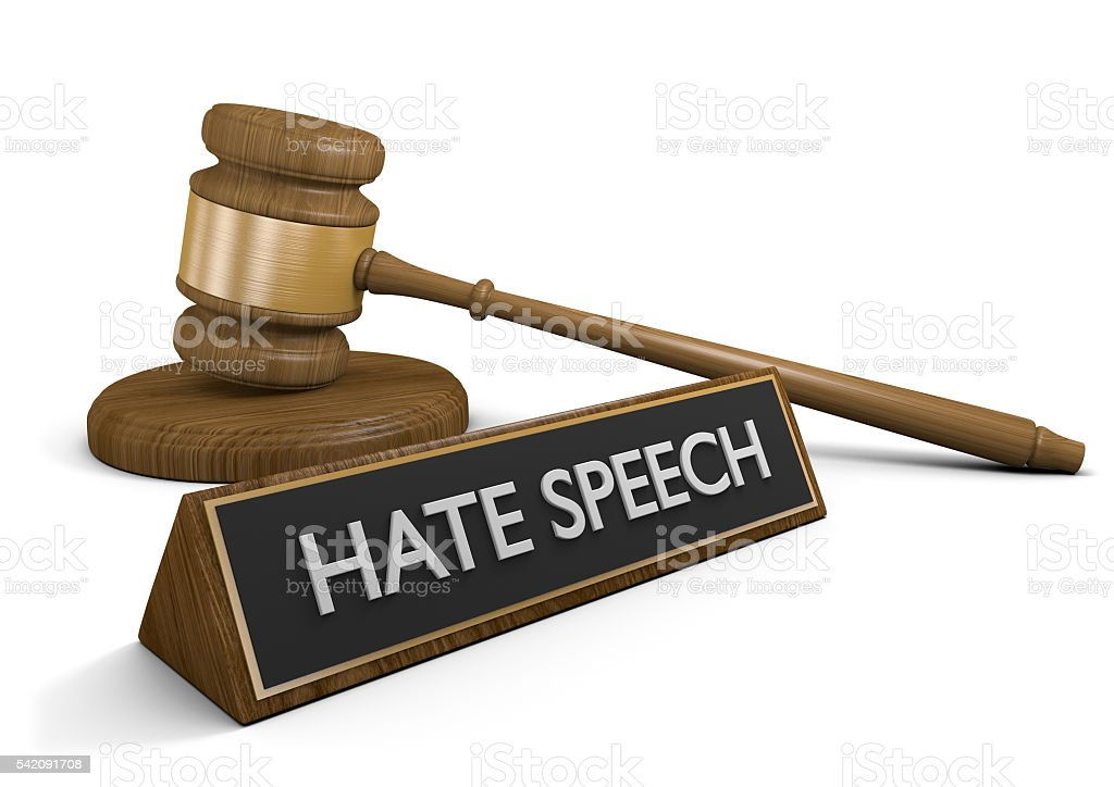 Court law justice symbols and sign that says hate speech stock photo