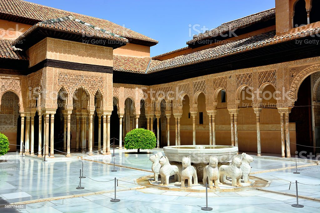 Court of the Lions, Granada stock photo