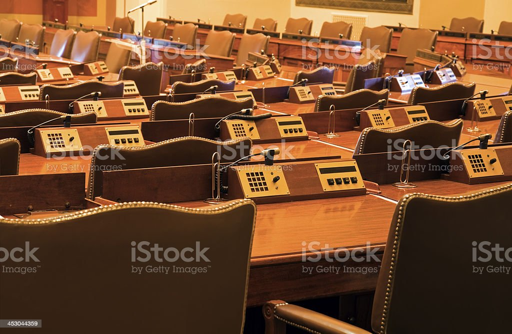 Court Room in State Capitol Building stock photo