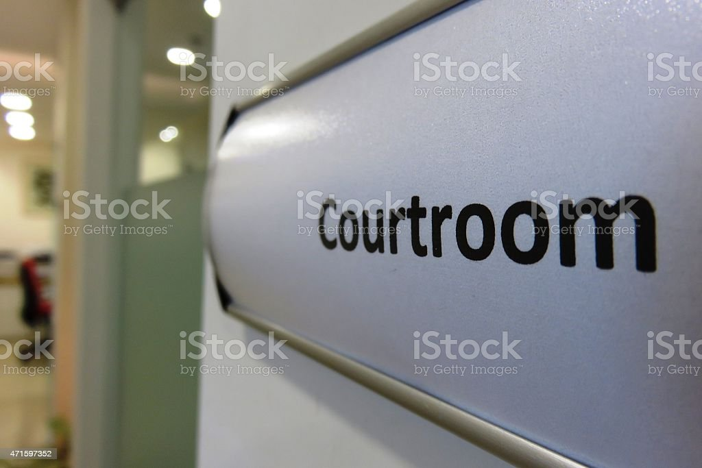 Court room sign stock photo