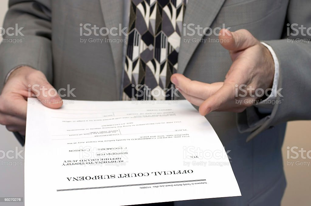 Court Subpoena royalty-free stock photo