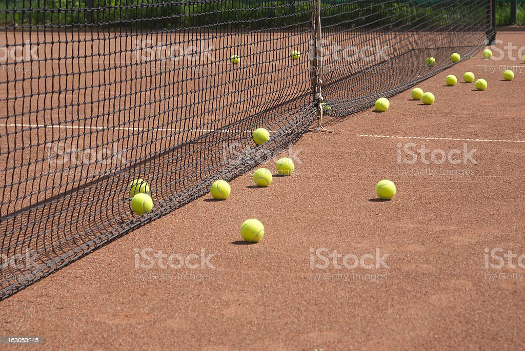 Court, tennis balls and net royalty-free stock photo