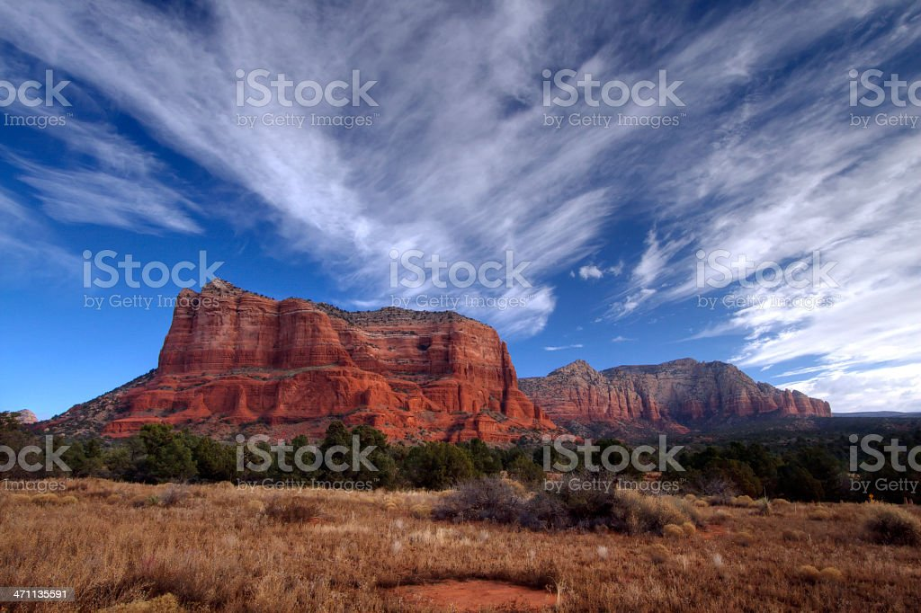 Courthouse Butte and Lee Mountain in Sedona stock photo
