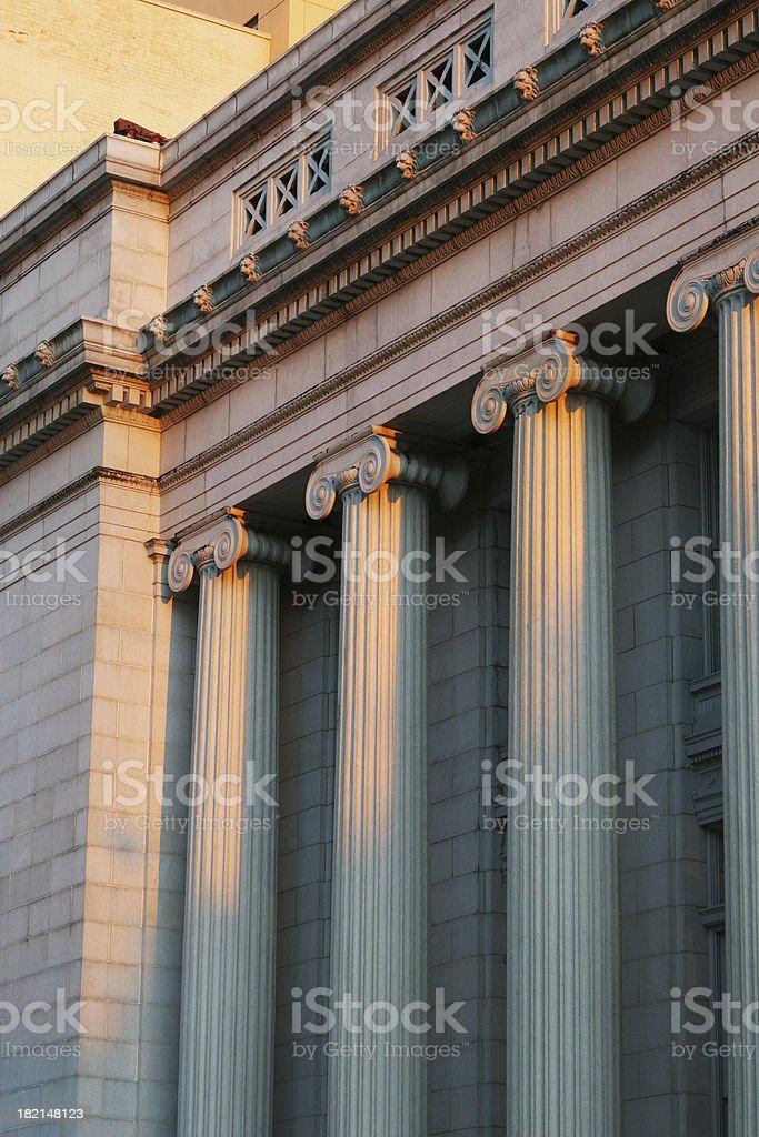 Courthouse Columns At Sunset, Dayton, Ohio royalty-free stock photo
