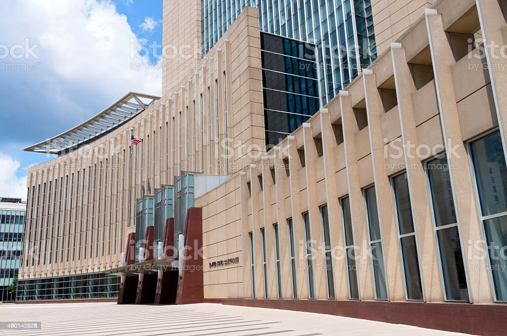 Courthouse Entrance and Plaza in Minneapolis stock photo