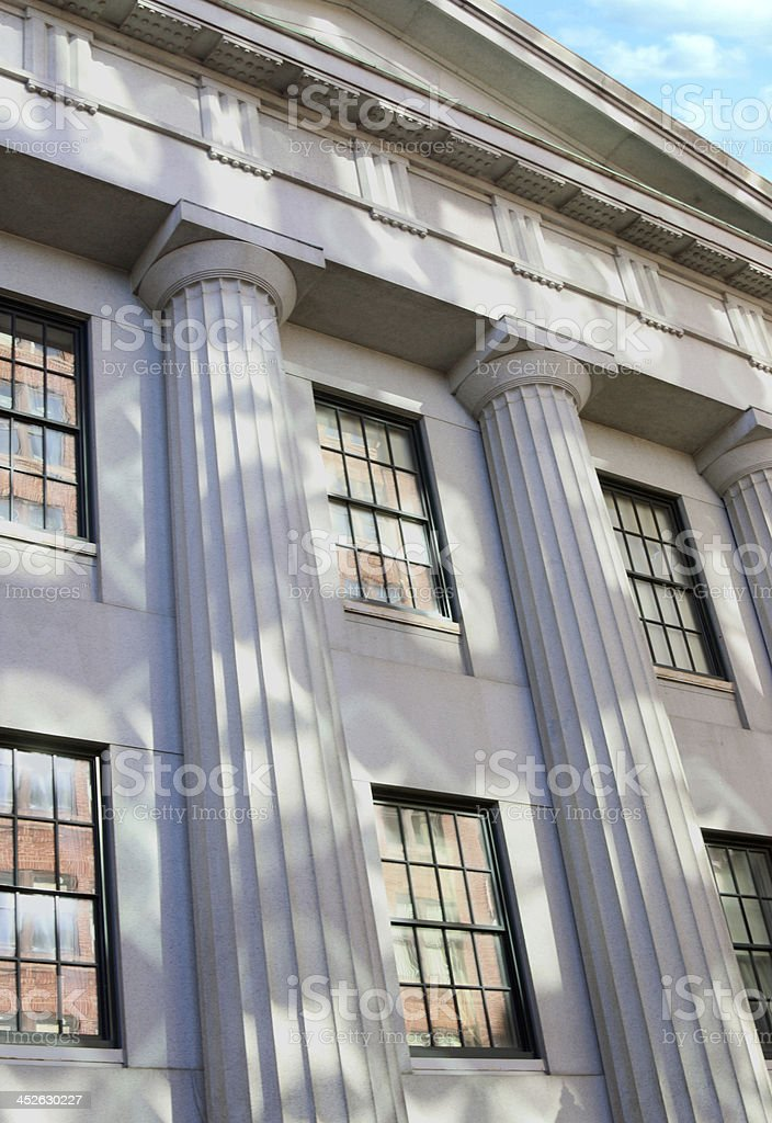 courthouse pillars with reflections and shadows royalty-free stock photo