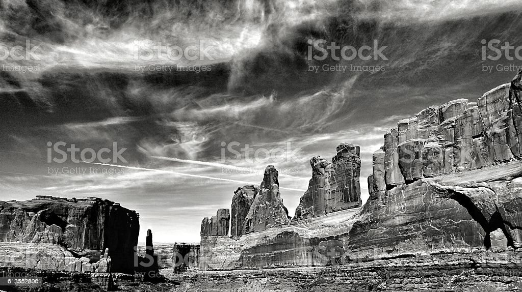 Courthouse Towers, Park Avenue Arches National Park stock photo