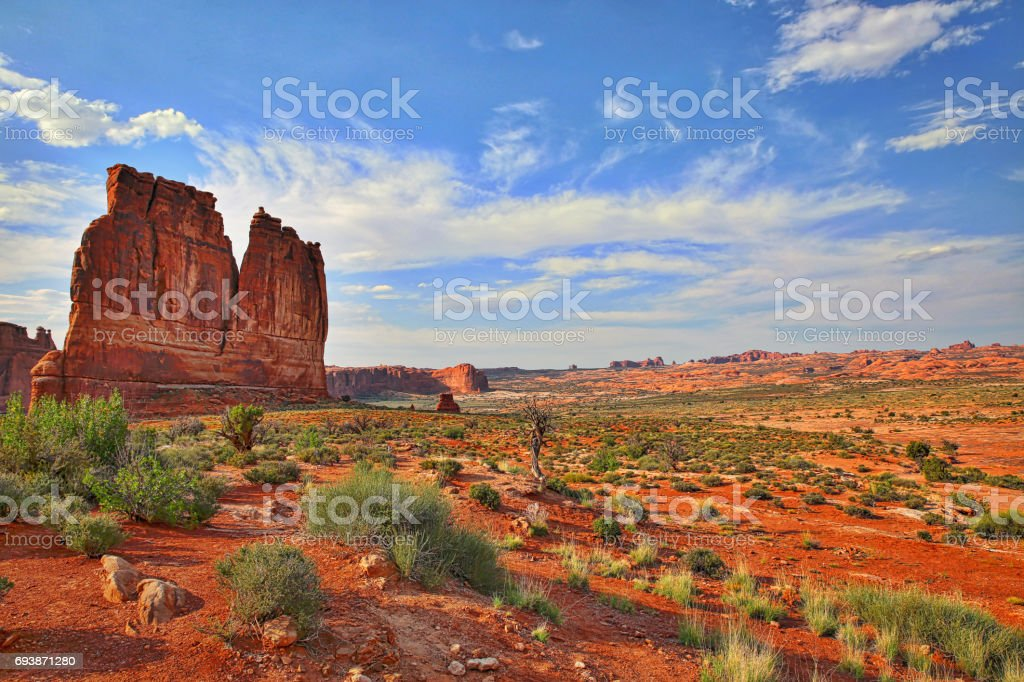 Courthouse Towers Rock Formation in Arches National Park stock photo