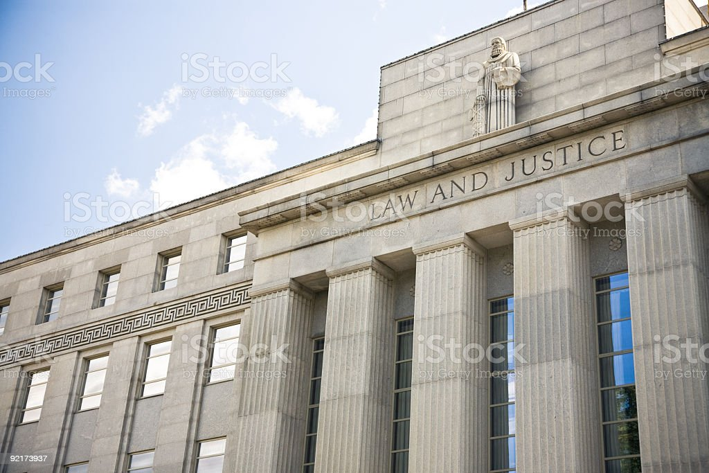 Courthouse with Law and Justice on the front royalty-free stock photo