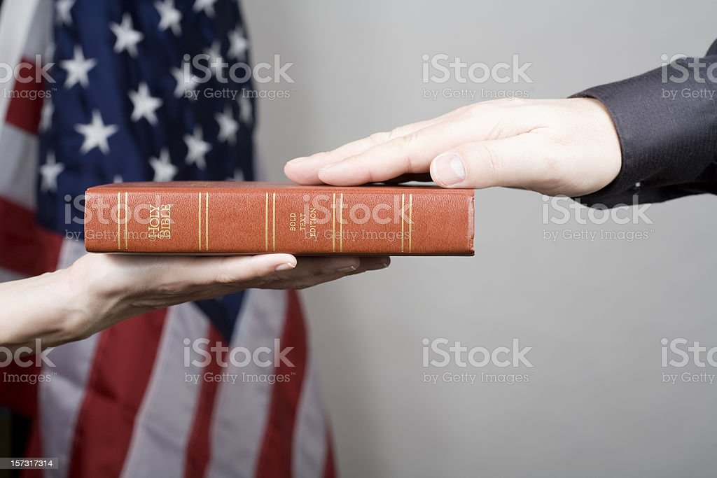 Courtroom oath stock photo