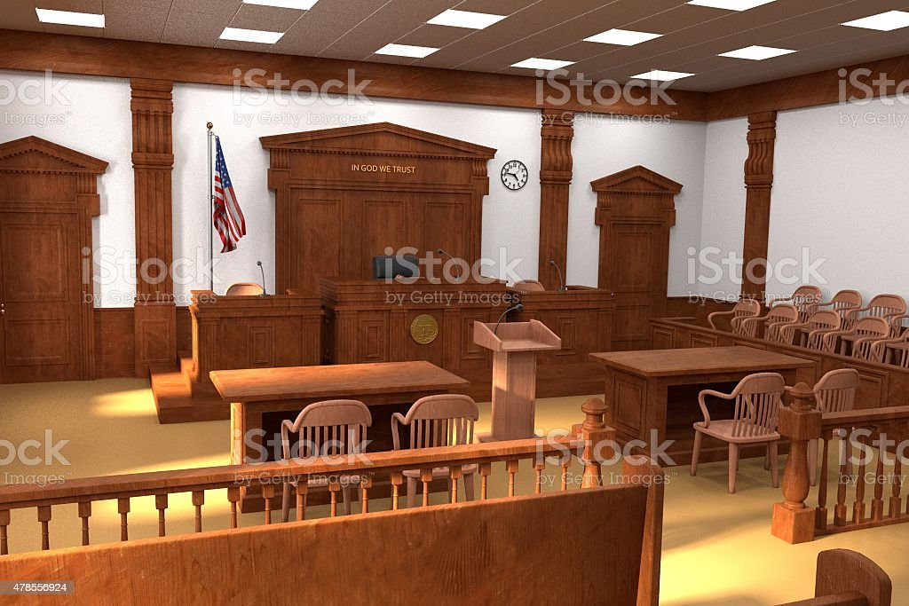 courtroom vector art illustration