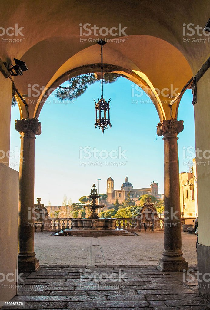 courtryard of rinascimental  town hall of Viterbo stock photo