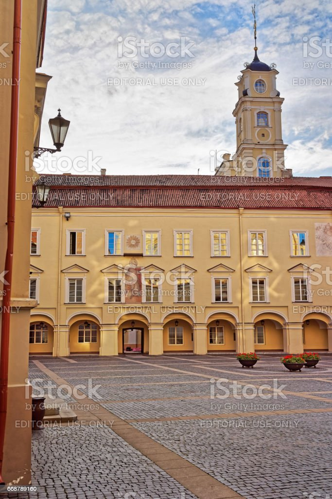 Courtyard and Astronimical Observatory tower of Vilnius University stock photo