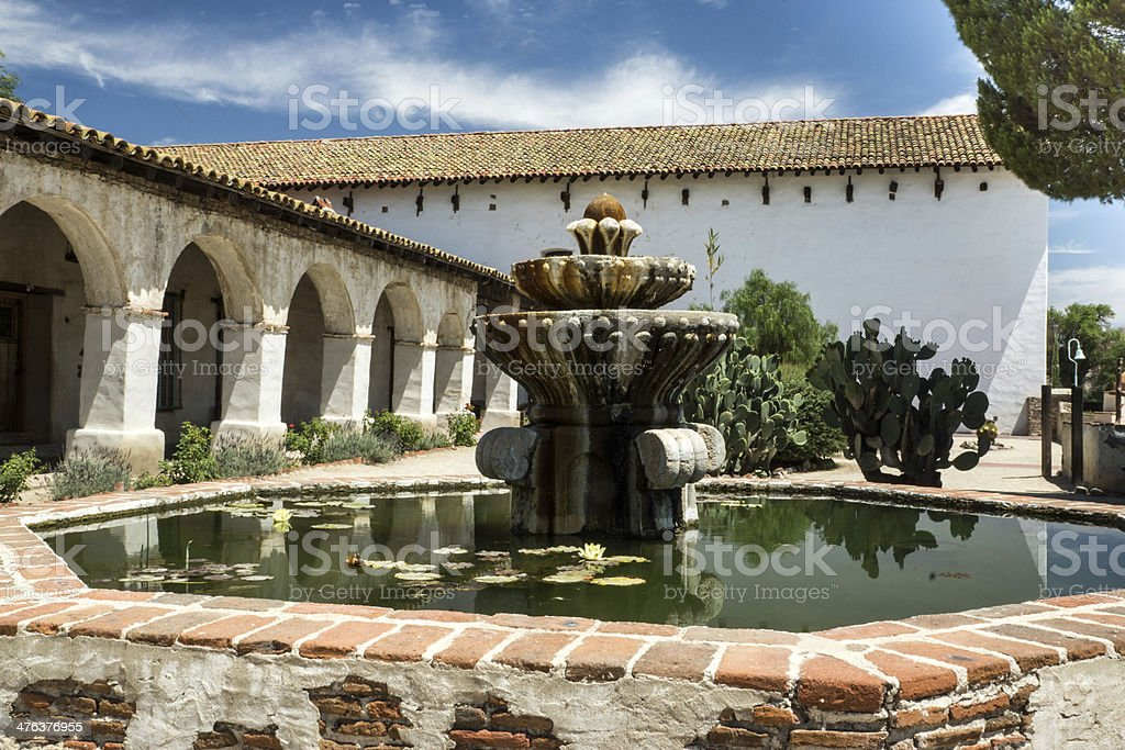 Courtyard at a Spanish Mission royalty-free stock photo
