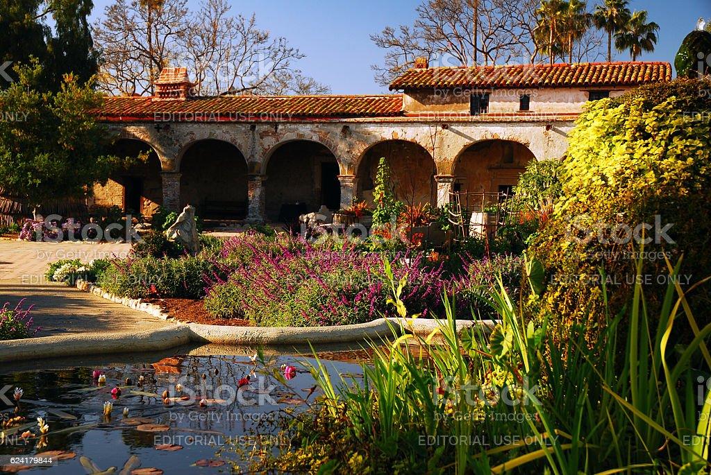 Courtyard at Mission San Juan Capistrano stock photo