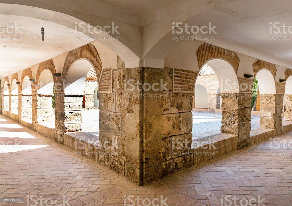 Courtyard at Monastery Virgin Del Saliente stock photo