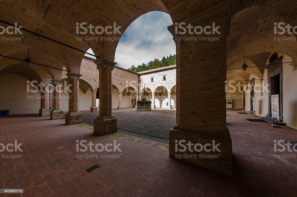 Courtyard at the Basilica Saint Ubaldo, Gubbio, Italy stock photo