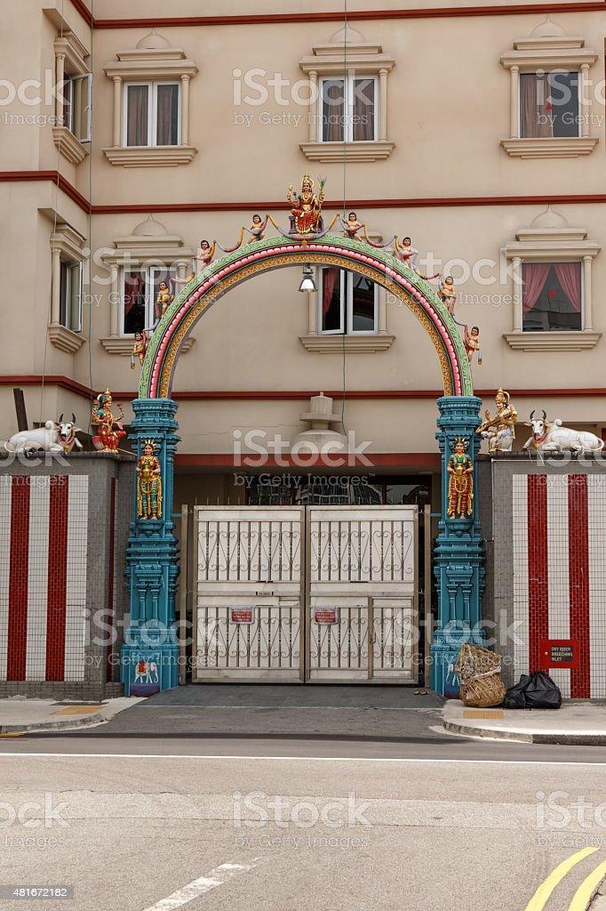 Courtyard entrance to Sri Veeramakaliammam Temple, Little India, stock photo