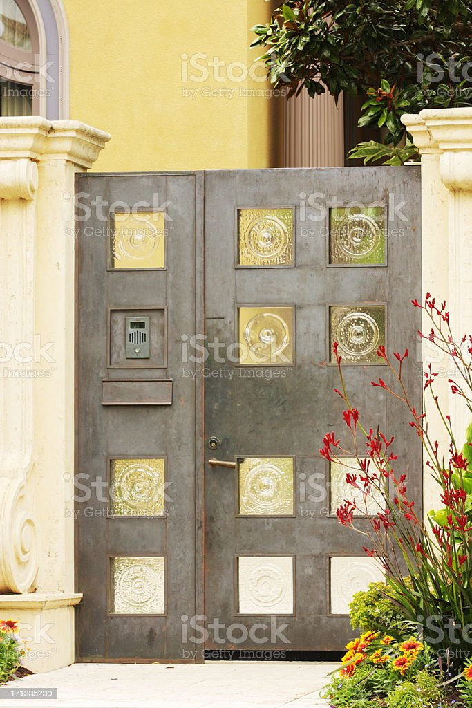 Courtyard Garden Entry Gate Architecture stock photo