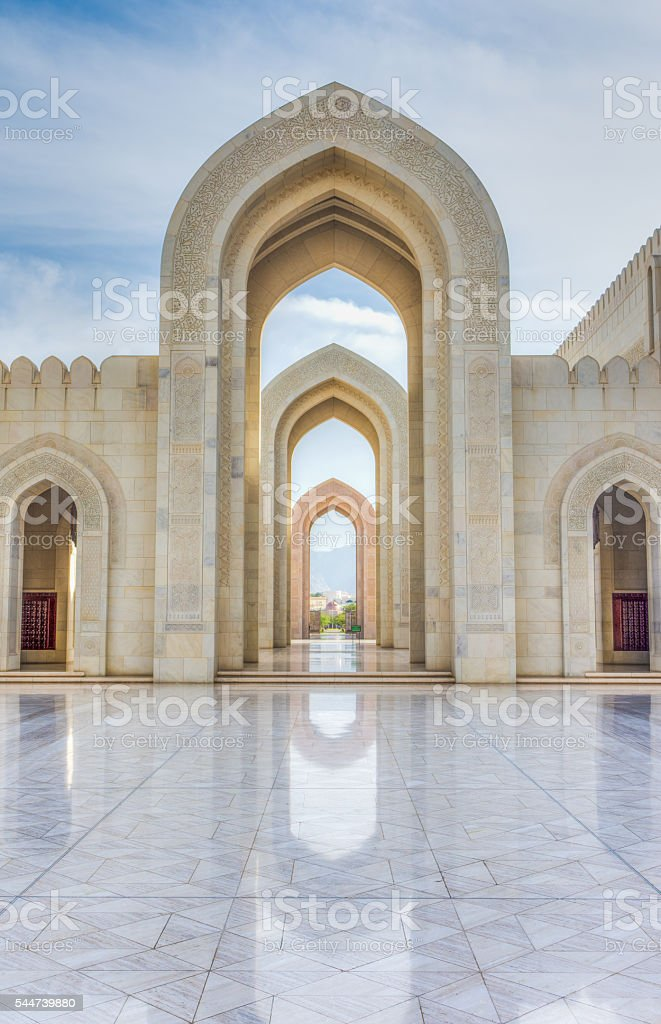 Courtyard, Grand Mosque, Muscat, Oman stock photo