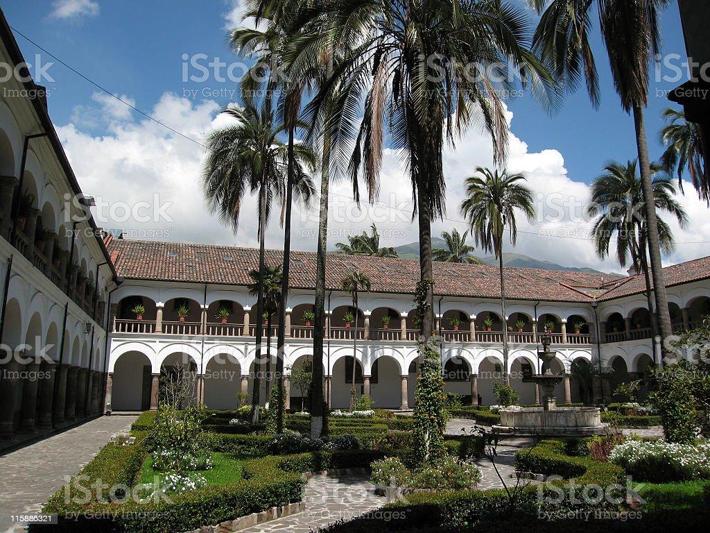 courtyard Iglesia de San Francisco, Quito, Ecuador stock photo