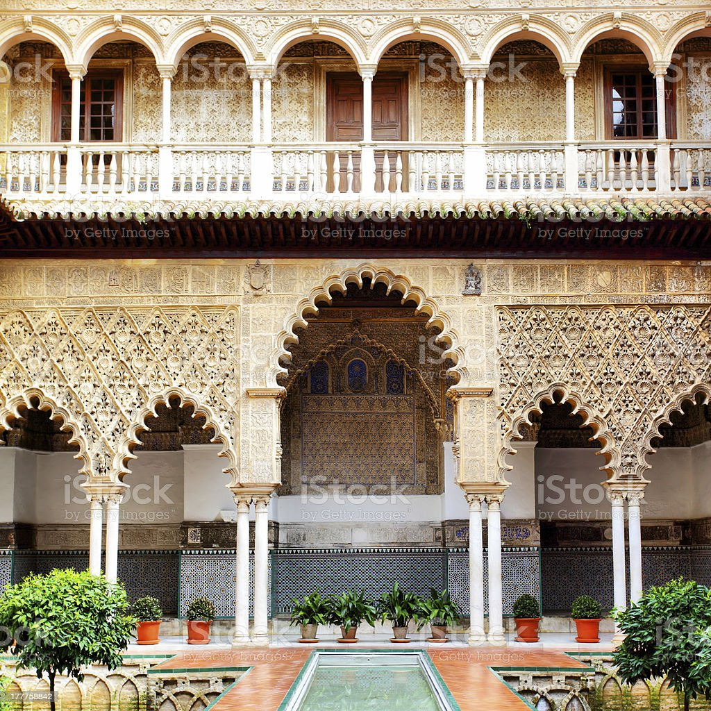 Courtyard in Alcazar stock photo