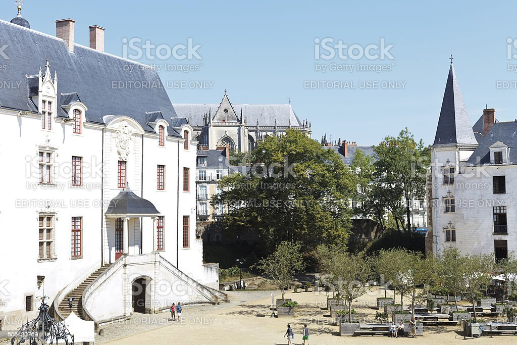 courtyard in Castle of Dukes of Brittany in Nantes stock photo