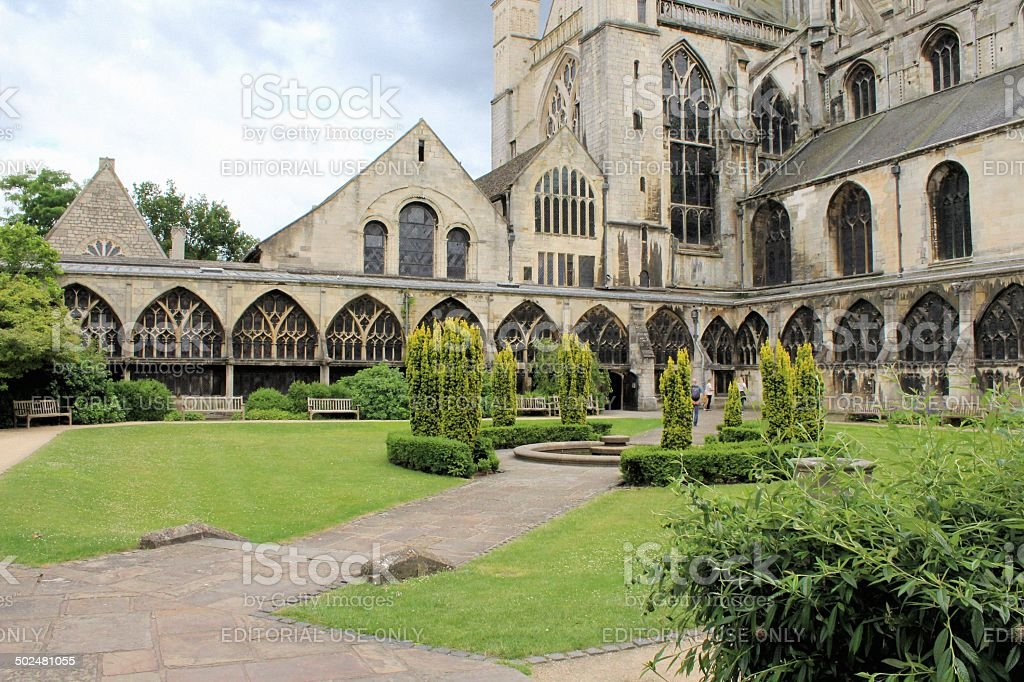 Courtyard in Gloucester Cathedral stock photo