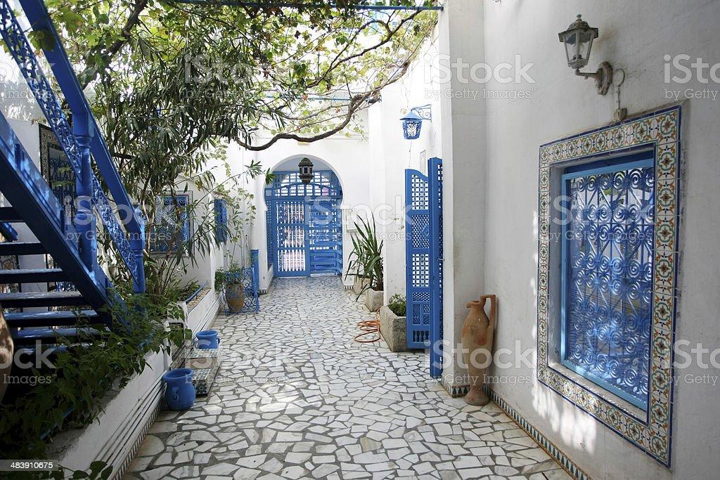 Courtyard in Sidi Bou Said stock photo