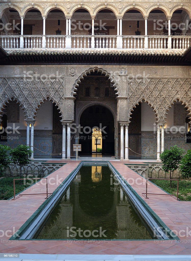 Courtyard in the Alcazar Palace, Seville royalty-free stock photo