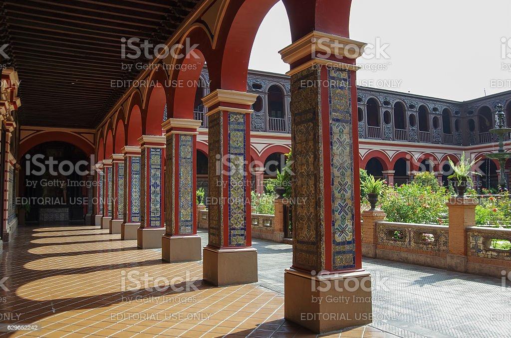 Courtyard in the Convento Santo Domingo stock photo